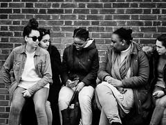 ** (donvucl) Tags: london southbank girls bench candidportrait bw blackandwhite brickwall olympusem1 donvucl