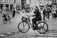 Home Delivery Amsterdam Style (DarrenCowley) Tags: cyclist amsterdam delivery stools humour humor monochrome city urban candid darrencowley streetphotography scene