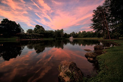 August Sunset (dorameulman) Tags: sunset august summer landscapephotography landscape clouds contrails reflections lake heatherlock inmybackyard gastonia northcarolina us haiku dorameulman canon7dmark11 canon