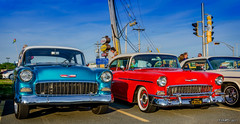A Pair of 55 Chevys (kenmojr) Tags: aw cruise cruisein carshow car auto automobile woodside novascotia canada vehicle transportation classic vintage antique summer dartmouth kenmo kenrmorrisjr 2017 1955 chevy chevys chevrolet chevrolets tri5