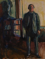 Edvard Munch, Self-Portrait with Hands in Pockets, 1925-26 (Sharon Mollerus) Tags: edvardmunchbetweentheclockandthebedexhibit sfmoma sanfranciscomuseumofmodernart sanfrancisco california unitedstates us cfptig17