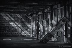 Shadow, Light & Statue (Sue MacCallum-Stewart) Tags: gormley statue light shadows blackwhite kent folkestone texture iron wood