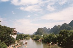 Yulong River Beauty (LeeDylanLeeDyl) Tags: china olympus xa2 yulong river famous landmark peaks mountains hills boats scenic beautiful film 35mm xa