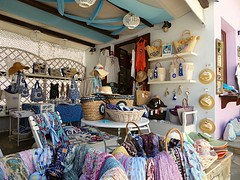 (lesleydugmore) Tags: shop gift greece greek islands sporadesisland europe colour pink blue scarf hats
