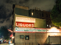 LIQUORS! Fish market! (Kevin L O'Mara) Tags: newyork newyorkcity brooklyn williamsburg liquor fishmarket sign night