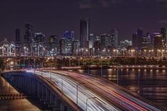 Mac Arthur Bridge (karinavera) Tags: city longexposure night photography cityscape urban ilcea7m2 miami macarthurbridge trafficlights