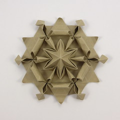 Metal Star (Małgorzata Łodo) — top-down view (Michał Kosmulski) Tags: origami star hexagon małgorzatałodo michałkosmulski ekoluxpaper brown beige