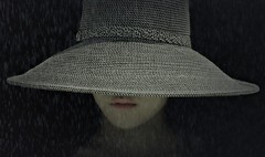 Mysterious Woman in Hat (Christina's World aka Chrissie Bee) Tags: portrait realpeople candid california creative vintage hat strawhat face blackbackground youngwoman youngadult lips textures artistic dramatic dark digitalart mysterious