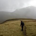 Edita on the slopes of Meall a' Chrasgaidh, with Sgurr nan Clach Geala in mist thumbnail