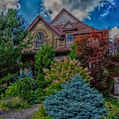 Kitchener Ontario ~ Canada ~ Queen Anne House ~ Front Garden (Onasill ~ Bill Badzo ~~~~ OFF) Tags: kitchener ontario ont canada historic historical district victoria park commercial area queen anne architecture style garden trees sly blue clouds evergreen tourist travel german town festival octoberfest downtown canon rebel eos sl1 sigma lens macro 18250m raw creative waterloocounty waterloo county hdr heritage mansion house homd