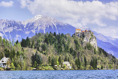 View of Lake Bled Castle and Alps from the Lake surface (lhg_11, 2million views. Thank you!) Tags: travel travelphotography europe slovenia lakebled landscape scenic castle villas juraalps