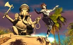 Sunrise for Shiva [The Salted Ruins] (Benny_Green) Tags: shiva sl secondlife thesaltedruins nature elephant ganesh ganesha hinduism hindu yoga srilanka
