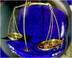 Libra - the present Sign of the Zodiac (jesse1dog) Tags: macromondays zodiac libra scales apothecary distortion led tabletop macro gm1 russian jupiter8 glassball box stand blue chain pan brass glasssphere