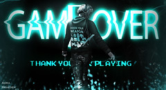 Game over - Thank You for Playing (_Adra Braeden_ *Client List CLOSED*) Tags: nomatch blond retro gacha gamer gameover blue light grid battle weapon console sega