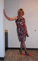 Maroon and Black (krislagreen) Tags: tg tgirl transgender transvestite cd crossdress femme feminized feminization dress hose peeptoepumps patent highheels