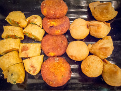Deep fried vadey for starters (stratman² (2 many pix!)) Tags: canonphotography powershots95 fritters vadey indiancuisine wtf whattastyfood colorful iso1000 food snacks deepfried chickpea