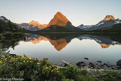 Sunrise Swiftcurrent Lake (greggohanian) Tags: glaciernationalpark manyglacier swiftcurrentlake montana mountains lake reflection calm stillness nikond800 nikon20mmf18 nikon mtgrinnell alpenglow