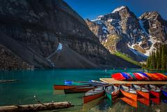 Moraine Lake, Banff National Park (jenni 101) Tags: banffnp alberta canada canadianrockies morainelake rockies boats canoes colourful nikond7200 reflections