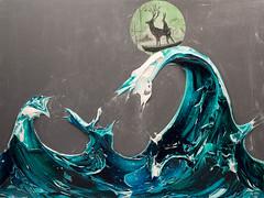 JUSTIN GAFFREY WV48X36-2017-297 (Justin Gaffrey) Tags: wave ocean storm conceptionalselfportrait deer stag rabbit boat ridethewave art contemporaryart modernart painting acrylicpaint artist justingaffrey 30a sowal floridaartist florida