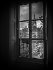 Through The Gallery Window (jerryms) Tags: manchester town hall art gallery black white em5 olympus omd