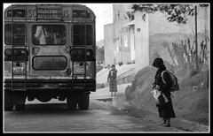 The Longing. (icarium82) Tags: bnw bw blackandwhite roadside guatemala latin america canon eos 7d snapshot school bus street travel road
