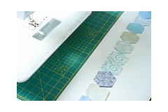 Chain piecing hexies (balu51) Tags: patchwork sewing quilting quilt wip hexagons hexies grandmothersflowergarden machinepiecing chainpiecing sewingmachine stashsewing newfabric mixingoldandnewfabrics blue green white september 2017 copyrightbybalu51