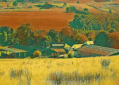 Down on the Farm (Rollingstone1) Tags: farm blanefield scotland countyside field grass trees buildings farmbuildings hills landscape nature natural rural agriculture art artwork vivid colour country barn house roof roofs rustic
