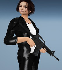 Resume Photo (alexandriabrangwin) Tags: alexandriabrangwin secondlife 3d cgi computer graphics virtual world photography job application resume photo blue sky background funny silly holding rifle assault eyes closed blissful m4 gun shiny black leather jacket woman pants white shirt hair updo