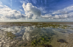 To infinity , extreme low tide (Through Bri`s Lens) Tags: sussex goringbysea lowtidereflection rocky weed cloudscape polarisingfilter canon5dmk3 canon1635f4