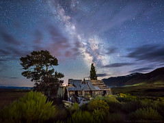 In darkness we are revealed (Nocturnal Bob) Tags: monocounty california ca abandoned farm house milkyway galaxy longexposure clouds mountains hills rural decay lightpainting nightphotography protomachines led8 sony a7r sigma 14mm 18 dg hsm art