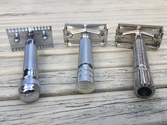 Unbranded Old-type, Gillette 1950's Paperclip Rocket TTO and Gillette Flare Tip Super Speed razors