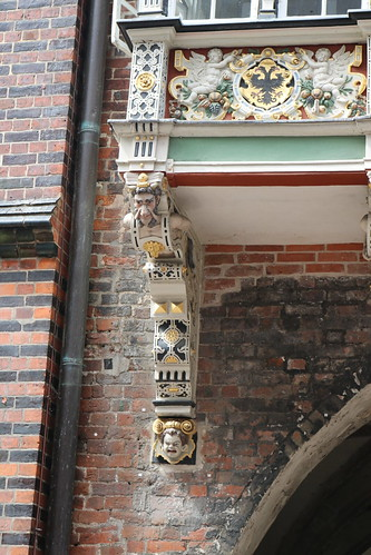 Lubeck town hall Rathaus. 16th century grotesques