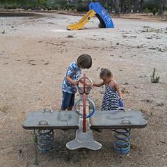 2017.08.01 (maximorgana) Tags: juanjo maria spring derelict abandoned slide park tree santaana siblings blonde