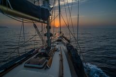 Sailing to the sun..... (Dafydd Penguin) Tags: sunrise sun sea sailboat sail boat vessel yacht cruising coastal coast water mediterranean spain southern balearics hallberg rassy nikon df nikkor 20mm af f28d