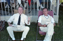 Robert Hardy and Christopher Timothy (The Rustic Frog) Tags: robert hardy christopher timothy all allcreaturesgreatandsmall bigfishlittlefish series6 episone9 drama bbc christophertimothy chris christimothy roberthardy actor actors cricket scene 1989 england north yorkshire uk richmondshire wensleydale spennithorne village ground sports 1986 period costume 1950s negative scanned copy film copyrighted sport rip