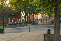 17-5558 (George Hamlin) Tags: virginia culpeper love sign main street buildings bench tree woman sitting sidewalk evening light photo decor george hamlin photography