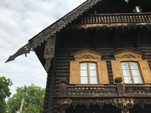 Gable and windows on Russian house