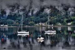 The Holy Loch, Cowal Peninsula,Scotland (Phelan (Shutter Clickin) Goodman) Tags: mist reflections scotland ardnadam bay cowal peninsula holy loch dunoon sandbank yachts