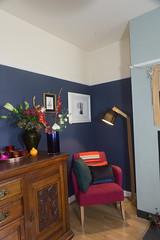 Living room. (Elfie Ray Art) Tags: edwardiansideboard freshflowers pols potten large blue votive used vase villeroy boch green glass scotch soda petrol linen cushion design style lifestyle interior decor home
