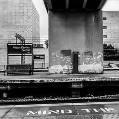 CMK Railway Station platform (Around and About MK) Tags: blackandwhite mindthegap miltonkeynes train station