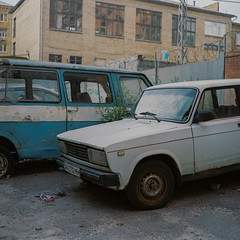 Kyiv, Ukraine (J.K.Stevens) Tags: 120film film 6x6 sekor mamiyac220 mediumformat kodakportra400 kyiv ukraine car color tlr twinlensreflex analog age manual analogue vintage