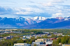 Anchorage Alaska (Herculeus.) Tags: 2011 ak alaskancruise11 alaskanrange anchorage architecture boxcars buildings clouds day freighttrain glaciers landscape landscapes mountains mtdenaliak outdoor outdoors outside snow spring switchingyard trains valley 5photosaday mountain