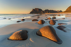 'Hot Rocks' - Uttakleiv, Lofoten, Norway (Kristofer Williams) Tags: beach coast landscape seascape rocks sunset uttakleiv lofoten norway mountain sand water sea