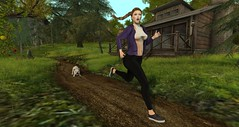 Sunday Stroll ..No..RUN! (LynaRay) Tags: nerido analogdog jian puppy ingenue running anneliese sneakers hoodie leggings silly fun sl outdoor
