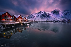 Norway Lofoten (Celia W Zhen) Tags: red norway lofoten lofotenislands landscape sea winter cloud sky sunset celiawzhen celiawzhenphotograph travel