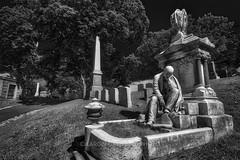 The Thinker, 2017.06.22 (Aaron Glenn Campbell) Tags: hollenbackcemetery riverstreet wilkesbarre wyomingvalley luzernecounty pennsylvania 3xp ±2ev hdr macphun aurorahdr2017 nikcollection colorefexpro viveza sony a6000 ilce6000 mirrorless rokinon 12mmf2ncscs wideangle primelens manualfocus emount tiffen ndfilter neutraldensity sunny shadows crypt tomb mausoleum gravestones headstones cemetery graveyard bw blackandwhite