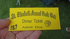 31st Annual Saint Elizabeth Catholic Church Pork Out Ticket (rabidscottsman) Tags: scotthendersonphotography ticket porkout festival mn minnesota elizabethminnesota ottertailcountyminnesota sunday weekend smalltown church catholicchurch northwesternminnesota geotagged churchdinner cellphonephotography 187 pig dinner lunch