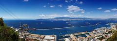 Panoramic view from Gibraltar/ Upper Rock: Strait of Gibraltar/ Cable Car/ Gibraltar/ Bay of Algeciras/ Algeciras (FH   Photography) Tags: gibraltar upperrock uk england algeciras strassevongibraltar seilbahn stadt city hafen marina schiffe tanker port bucht buchtvonalgeciras spanien mittelmeer atlantik panorama pano tag himmel ufer küste europa marokko afrika gebäude cablecar grenze übersicht skyscraper skyline boote tankschiff fracht transport import export eu