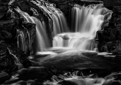 falls near St.Jean de Mantha (montrealmaggie) Tags: falls chutes quebec water black white cascade summer