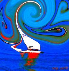 sailing into the blue (Sonja Parfitt) Tags: english bay manipulated sailboat colors bright